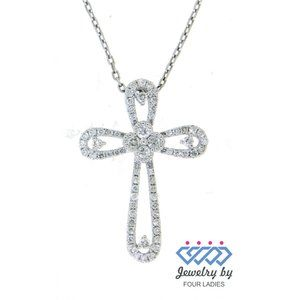 Real Diamond Fancy Thick Cross Pendant White Gold